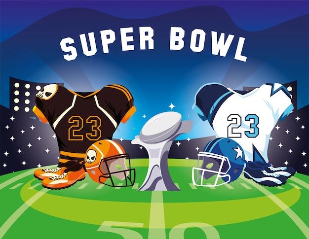 Combinaison de joueur de football américain tenue, super bol d'étiquette