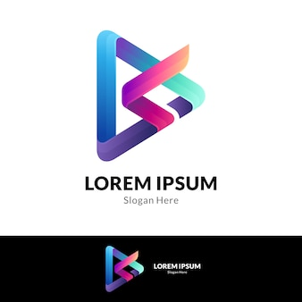 Combinaison de lettre s avec modèle de conception de logo media play