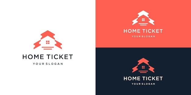 Combinaison de logo de billet à domicile