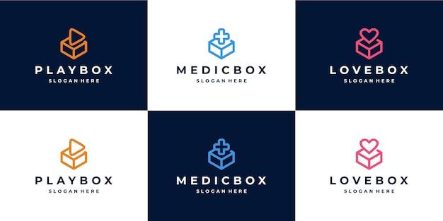Combinaison de logo de boîte monoline