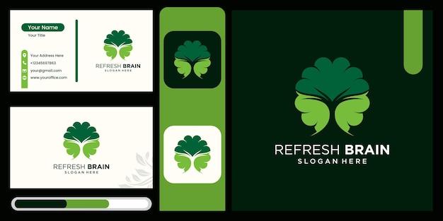 Combinaison de logo de cerveau avec des feuilles rafraîchissement du cerveau rafraîchissement du cerveau ensemble d'icônes de logo et vecteur