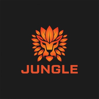Combinaison de logo lion et feuille. création de logo king of jungle.
