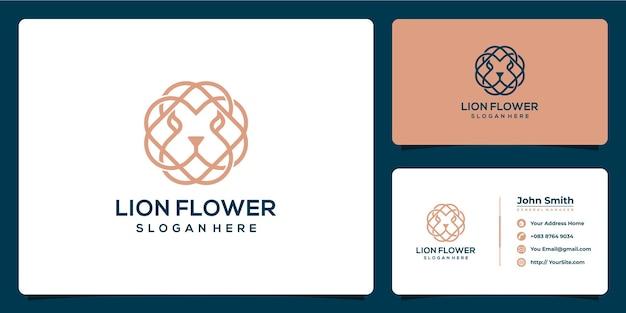 Combinaison de logo de lion et de fleur avec la carte de visite