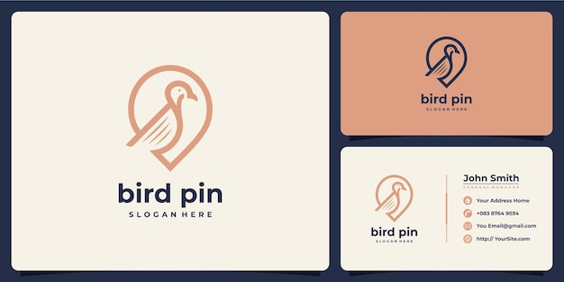 Combinaison de logo de luxe de goupille d'oiseau avec la carte de visite