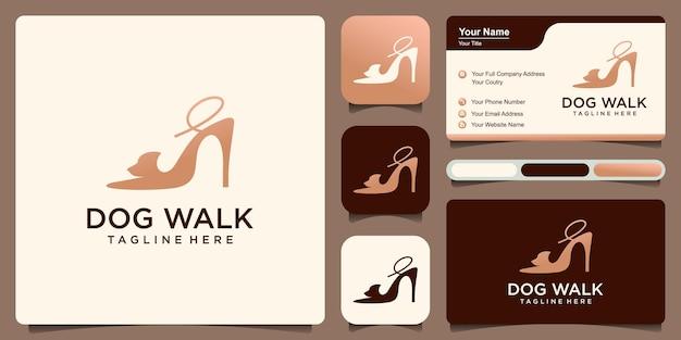 Combinaison de logo de promenade de chien talons hauts et concept de conception simple de chien
