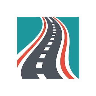 Combinaison de logo de rue vectorielle modèle de conception de logo de route incurvée unique