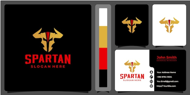 Combinaison de logo spartiate el toro avec modèle de carte de visite