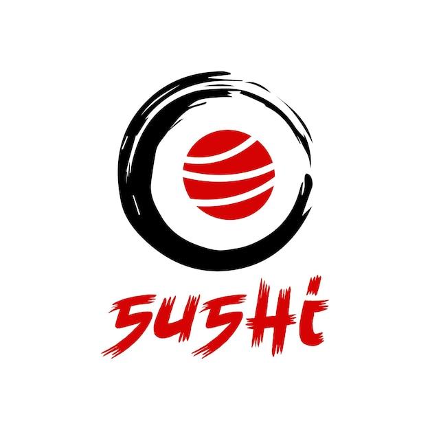 Combinaison de logo de sushi vectoriel symbole ou icône de nourriture japonaise et de rouleau création de logo de fruits de mer unique
