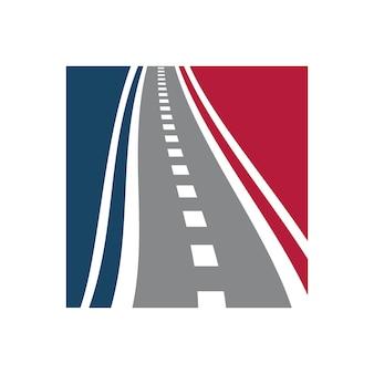 Combinaison de logo de voie vectorielle modèle de conception de logo de chaussée unique