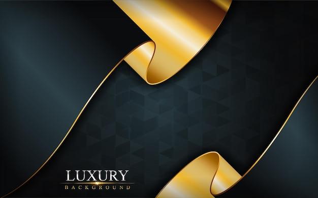 Combinaison de luxe marine foncé avec design de fond de lignes dorées.