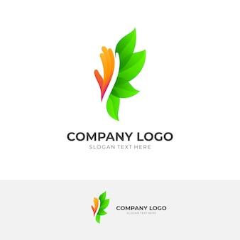 Combinaison de modèles de conception de logo de feuille et de main, style de couleur 3d