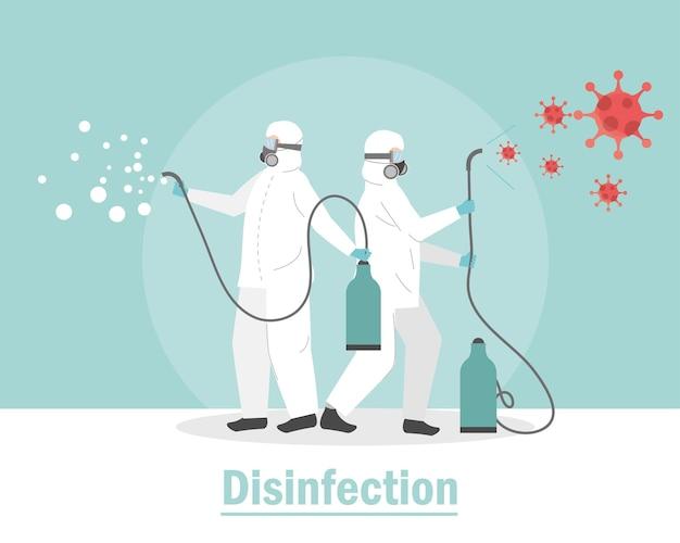 Combinaison de protection people désinfecter covid 19