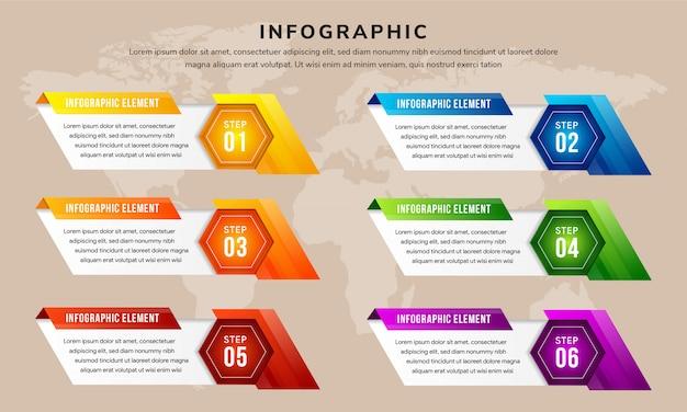 La combinaison de six processus ou étape de modèle d'infographie de forme hexagonale et diagonale pour la présentation d'entreprise.