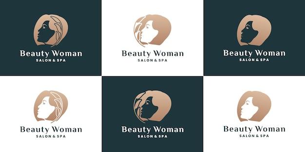 Combinaison de visage de femmes de beauté pure avec la collection de conception de logo de feuille de nature
