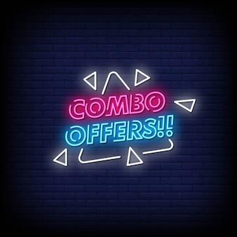 Combo offre un texte de style néon avec des triangles