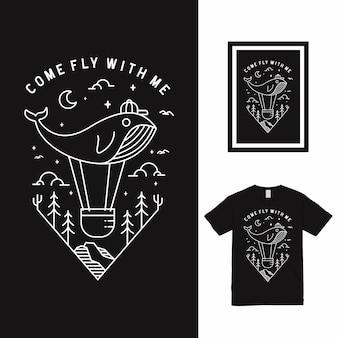 Come fly high line art design de t-shirt