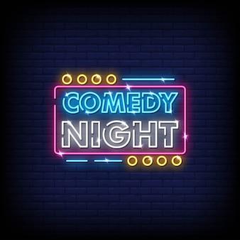 Comédie nuit enseignes au néon style texte