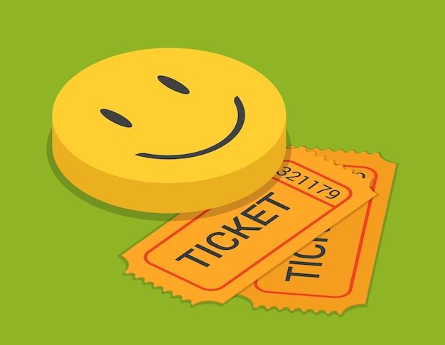 Comédie stand-up show ticket réservation réservation plat isométrique
