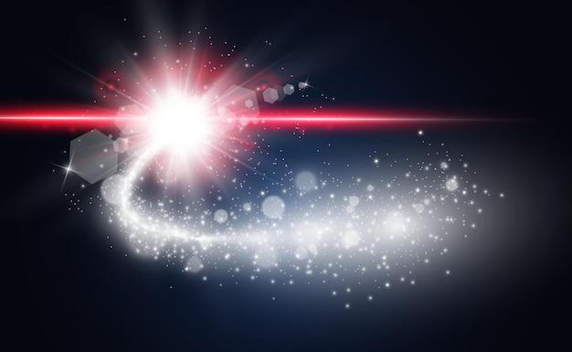 Comète. bright star, étoile filante