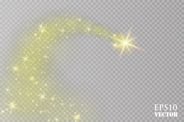 Une comète brillante avec. étoile filante. effet de lumière luminescente. illustration