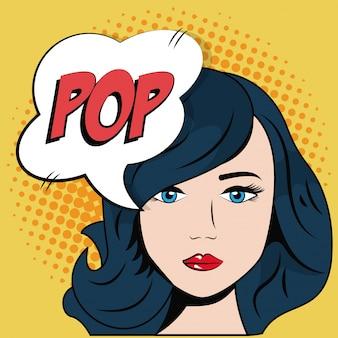 Comic bleu cheveux fille bulle discours pop art