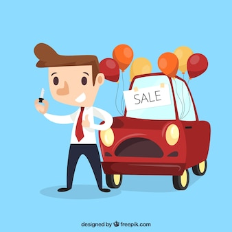 Comic car salesman design