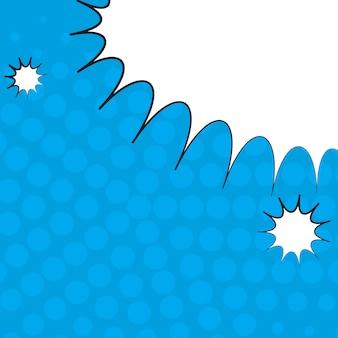 Comic pop art blue background avec des ombres de demi-teintes et des nuages.