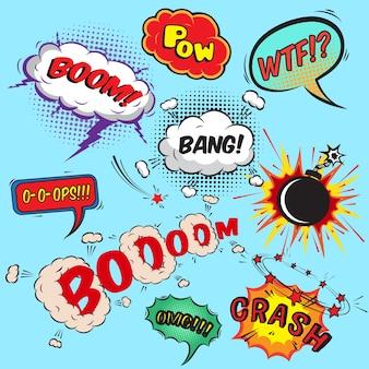 Comic speech bubbles design elements collection illustration vectorielle isolée