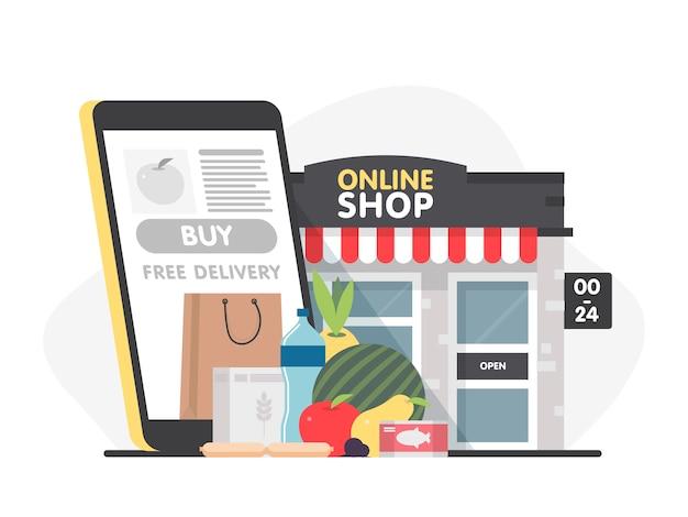 Commande alimentaire shopping en ligne paiement mobile e-commerce concept d'entreprise réussi