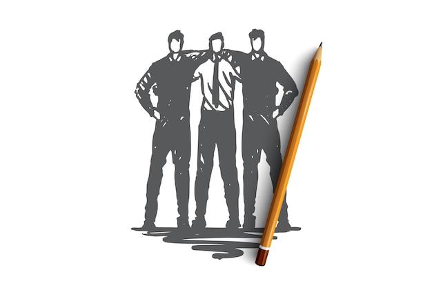 Commande, équipe, amis, travail, concept d'entreprise. vecteur isolé dessiné à la main.