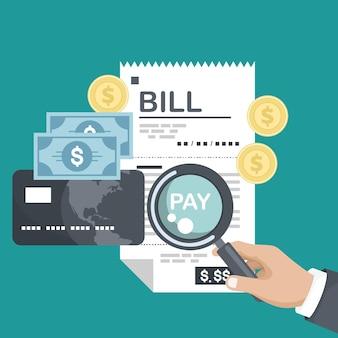 Commande de facture de reçu de chèque papier