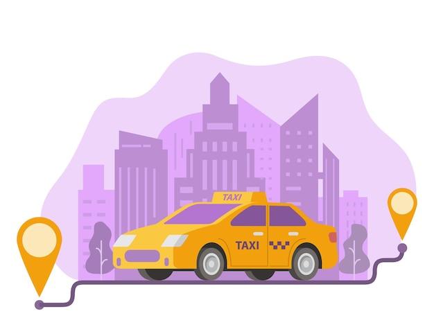 Commande de l'itinéraire de taxi et de l'emplacement des points sur une ville