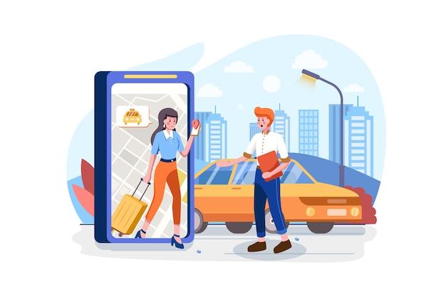 Commande en ligne du concept de voiture de taxi