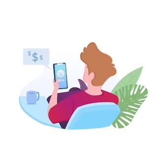 La commande en ligne avec l'homme commande des marchandises via son téléphone portable