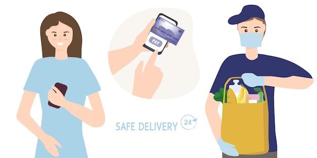 Commande de nourriture dans une boutique en ligne avec paiement par carte de crédit