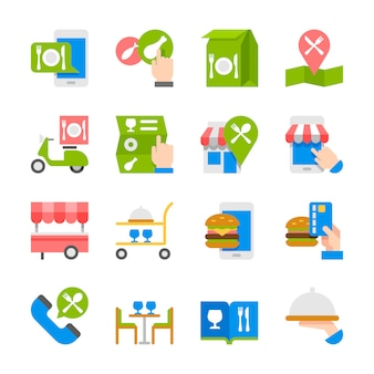 Commande de nourriture de restaurant sur les icônes de la ligne