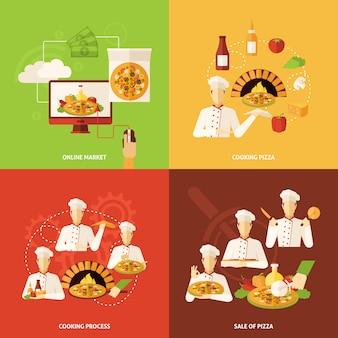 Commande de pizza et icône de fabrication