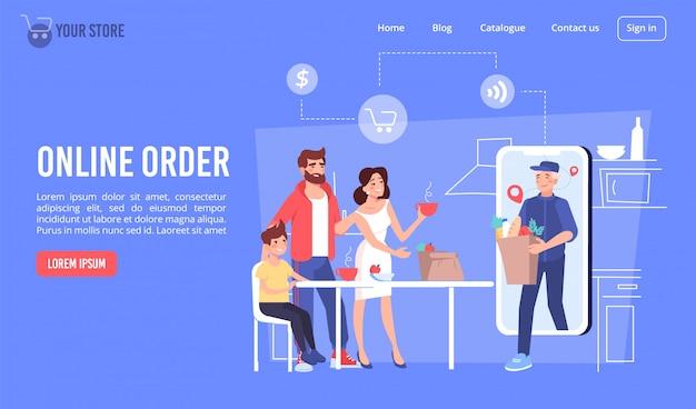 Commande de produits alimentaires en ligne via la page de destination mobile
