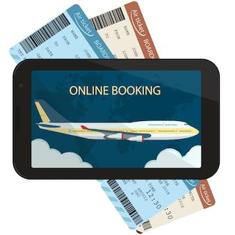 Commande et réservation en ligne de billets d'avion.