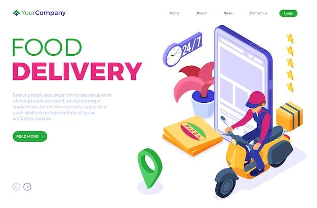 Commande de restauration rapide en ligne et service de livraison de colis.