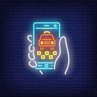 Commande de taxi en ligne au néon