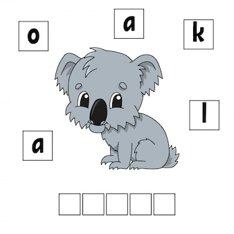Commander les mots feuille de calcul dessin animé koala