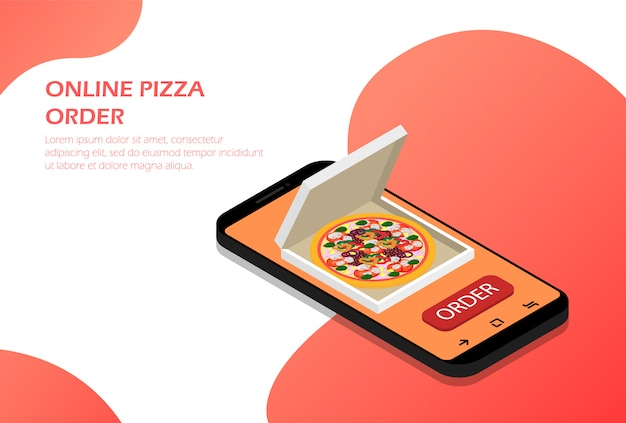 Commander une pizza en ligne dans votre téléphone isométrique