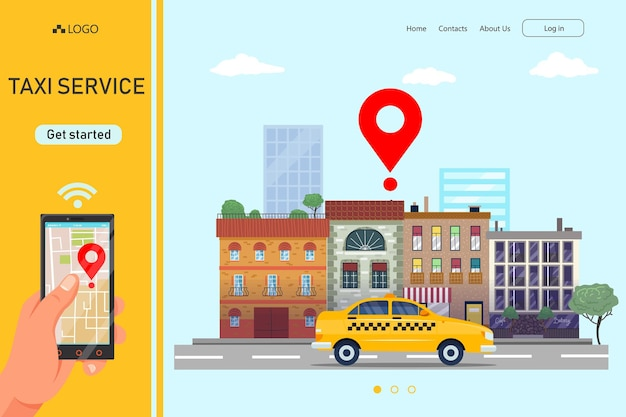 Commander le transport en taxi dans l'illustration de l'application en ligne