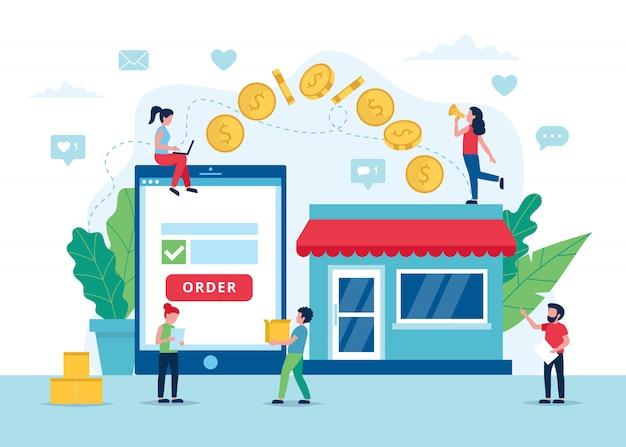 Commandez le concept en ligne, le processus de paiement avec tablette.