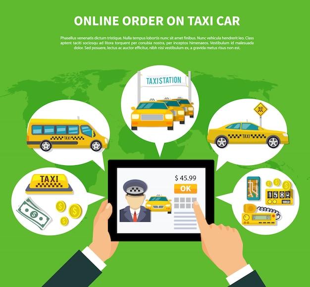 Commandez en ligne taxi concept