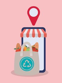 Commandez en ligne via un téléphone portable un ecobag plein de conception d'illustration de produits du marché