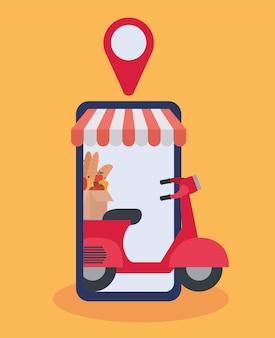 Commandez en ligne via un téléphone portable, un mortorbike de livraison avec une boîte pleine de conception d'illustration de produits du marché