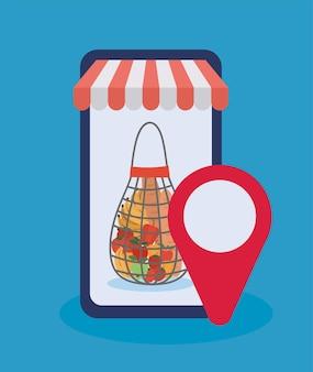 Commandez en ligne via un téléphone portable un sac en filet rempli de conception d'illustration de produits du marché