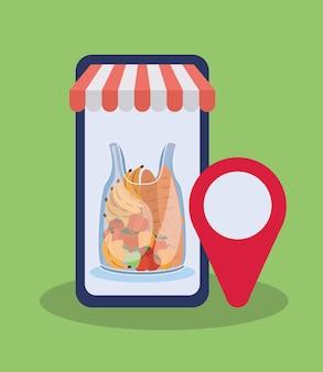 Commandez en ligne via un téléphone portable un sac en plastique rempli de conception d'illustration de produits du marché